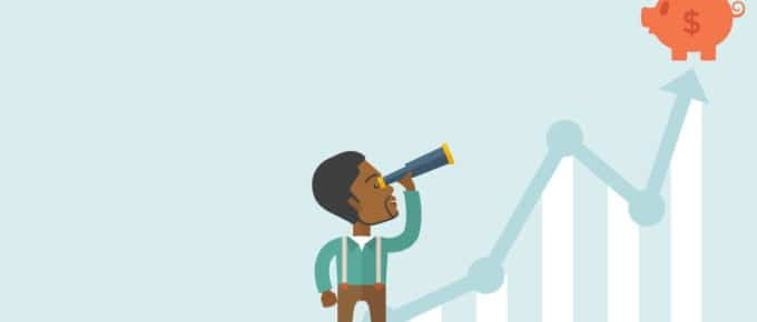 A black guy standing using telescope to see the graph and piggy bank on the top of the arrow, a sign of progress as business sales is increase. Growing business concept