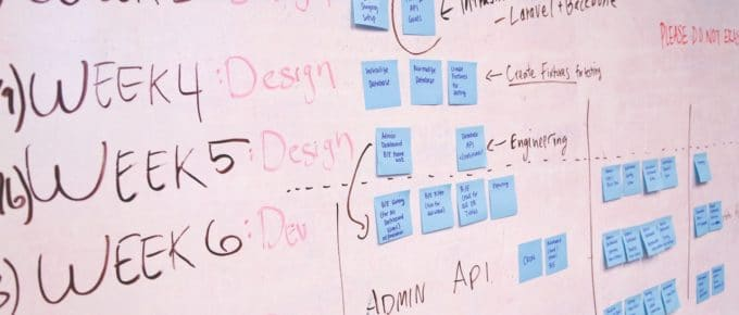 Whiteboard showing a product development process with sticky notes