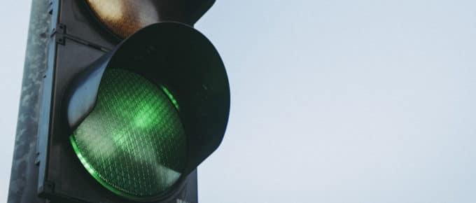 A green traffic light