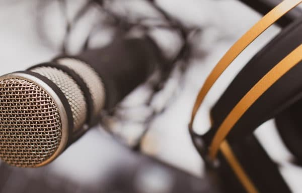 Podcasting microphone and headphones